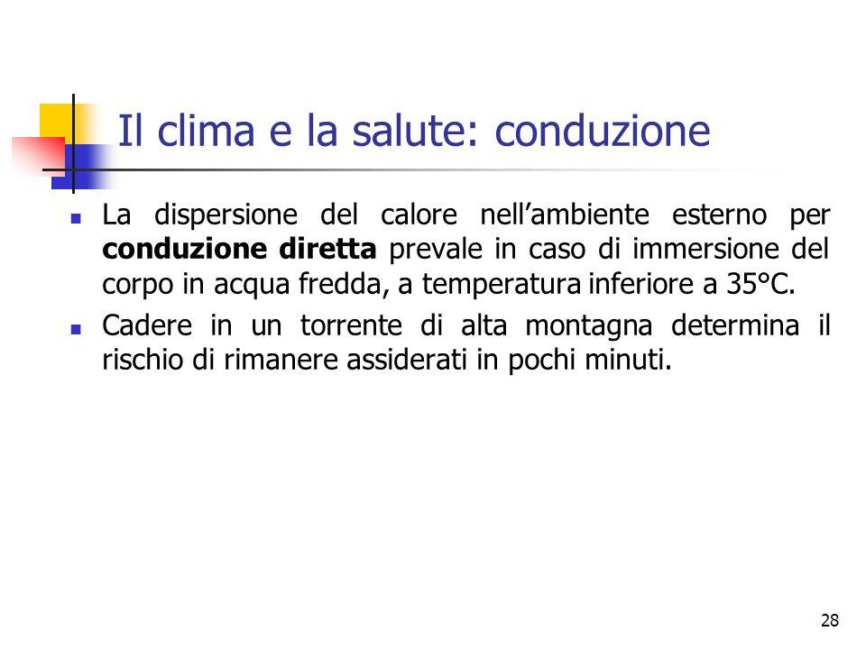 Il clima e la salute: conduzione