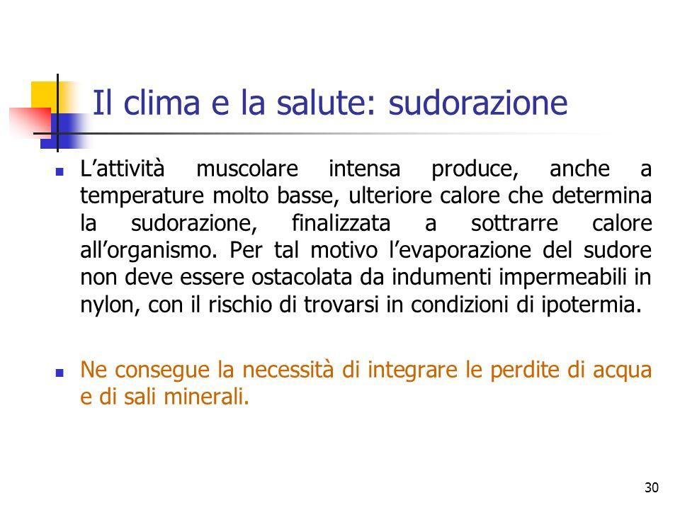 Il clima e la salute: sudorazione