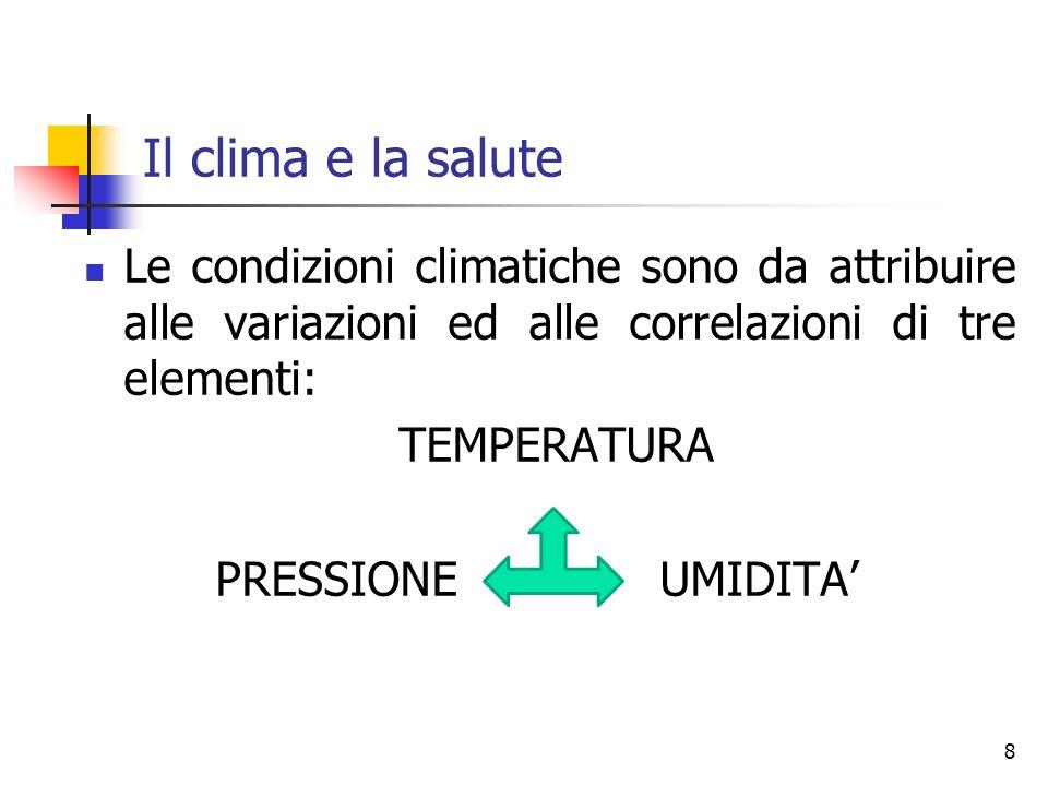 Il clima e la salute Le condizioni climatiche sono da attribuire alle variazioni ed alle correlazioni di tre elementi: