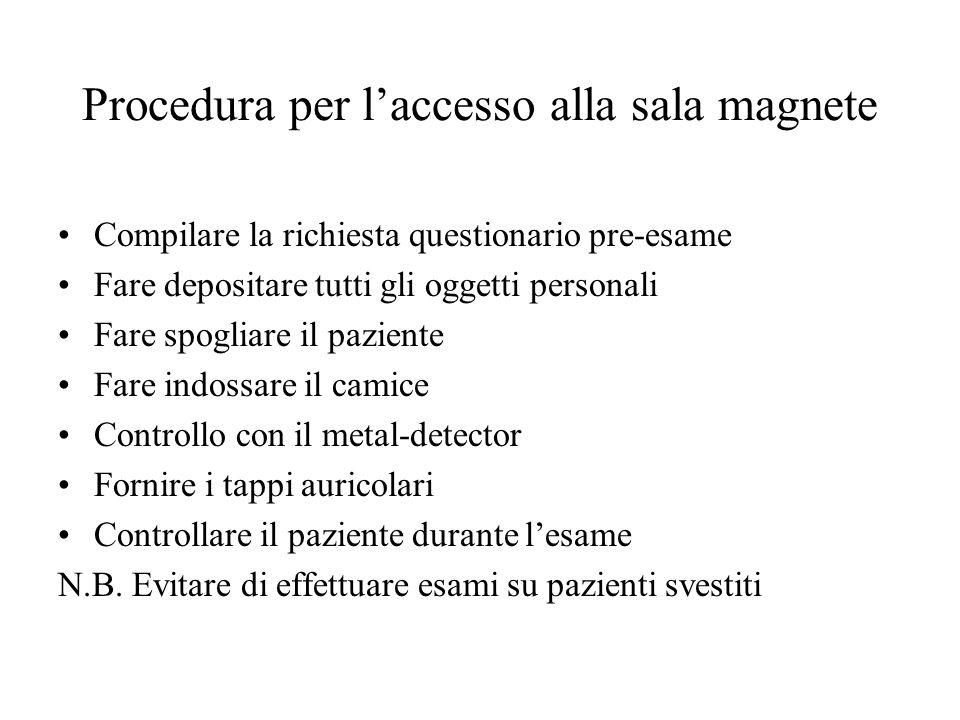 Procedura per l'accesso alla sala magnete