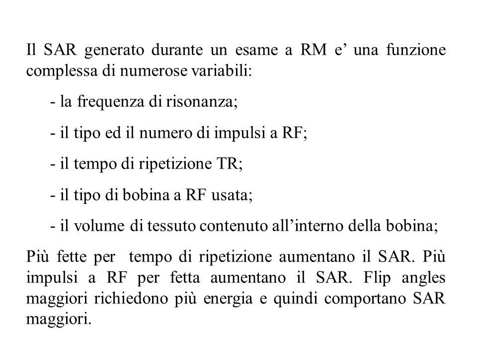 Il SAR generato durante un esame a RM e' una funzione complessa di numerose variabili:
