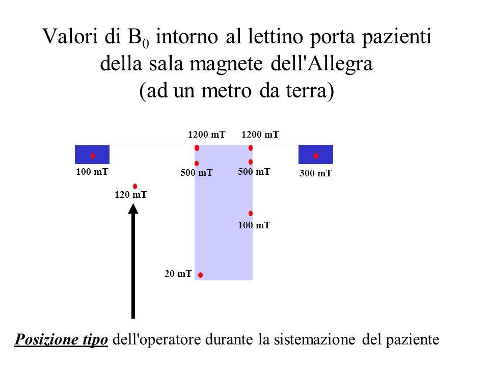 Valori di B0 intorno al lettino porta pazienti della sala magnete dell Allegra (ad un metro da terra)