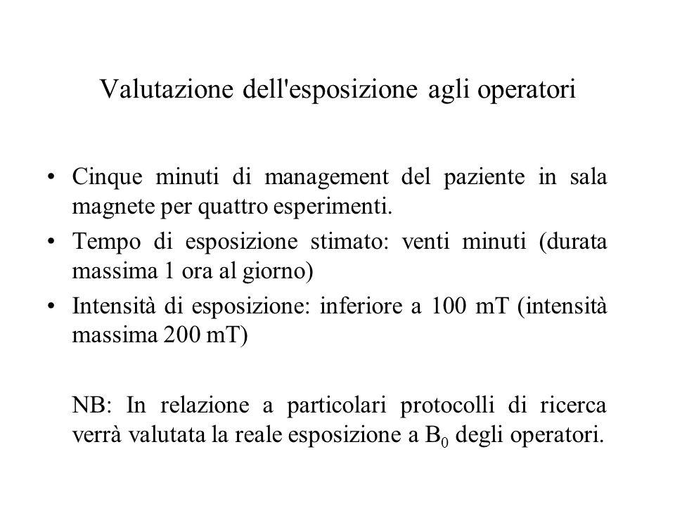 Valutazione dell esposizione agli operatori