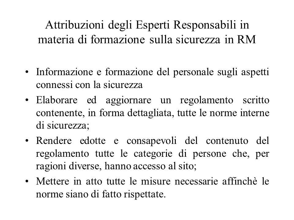 Attribuzioni degli Esperti Responsabili in materia di formazione sulla sicurezza in RM