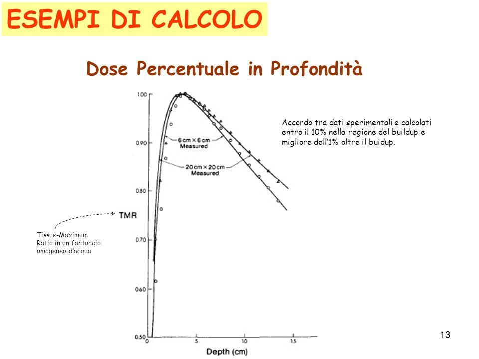 ESEMPI DI CALCOLO Dose Percentuale in Profondità