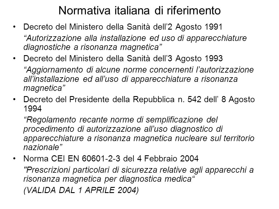 Normativa italiana di riferimento