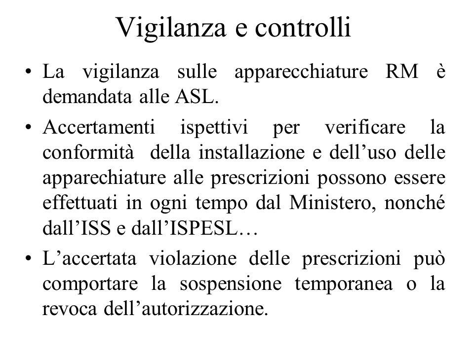 Vigilanza e controlli La vigilanza sulle apparecchiature RM è demandata alle ASL.