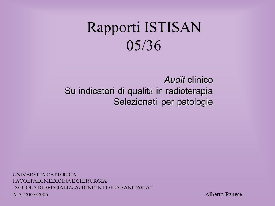 Rapporti ISTISAN 05/36 Audit clinico