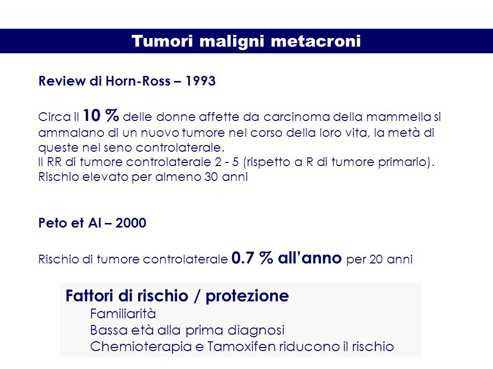 Tumori maligni metacroni