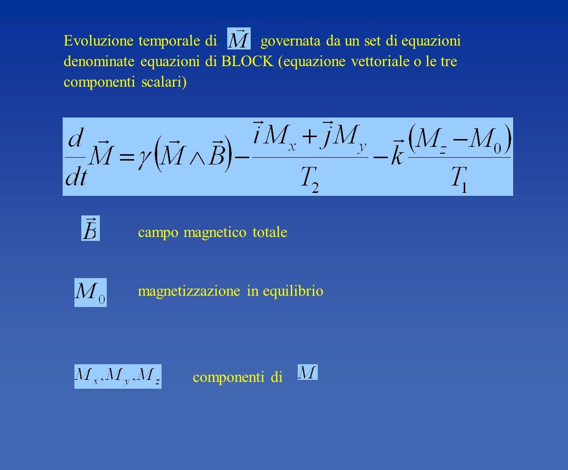 Evoluzione temporale di governata da un set di equazioni denominate equazioni di BLOCK (equazione vettoriale o le tre componenti scalari)