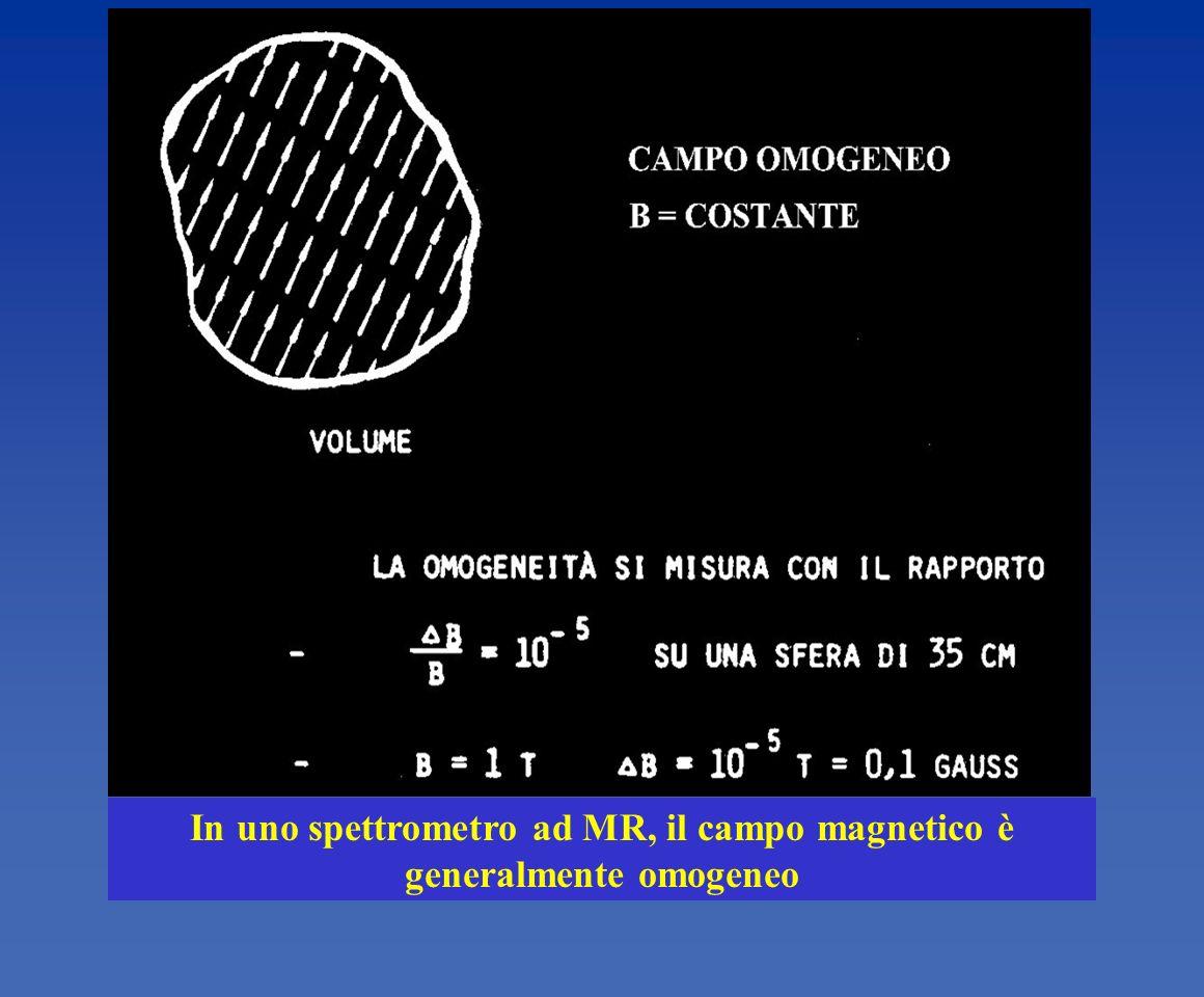 In uno spettrometro ad MR, il campo magnetico è generalmente omogeneo