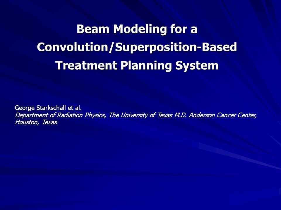 Beam Modeling for a Convolution/Superposition-Based Treatment Planning System