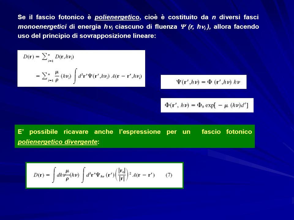 Se il fascio fotonico è polienergetico, cioè è costituito da n diversi fasci monoenergetici di energia hi ciascuno di fluenza  (r, hi ), allora facendo uso del principio di sovrapposizione lineare: