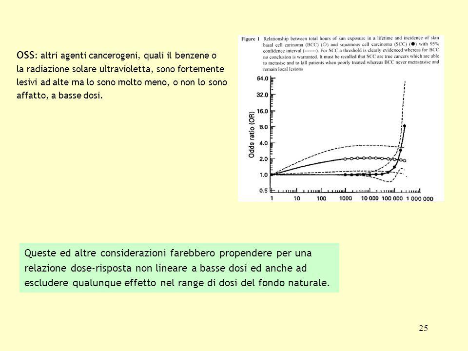 OSS: altri agenti cancerogeni, quali il benzene o