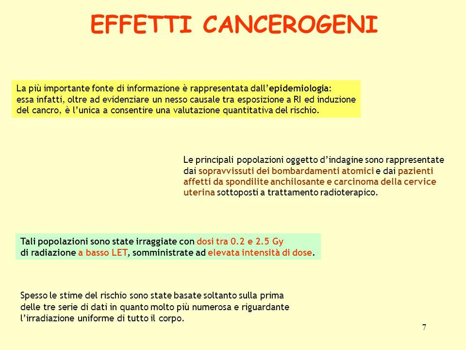 EFFETTI CANCEROGENI La più importante fonte di informazione è rappresentata dall'epidemiologia: