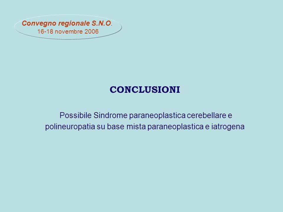 CONCLUSIONI Possibile Sindrome paraneoplastica cerebellare e