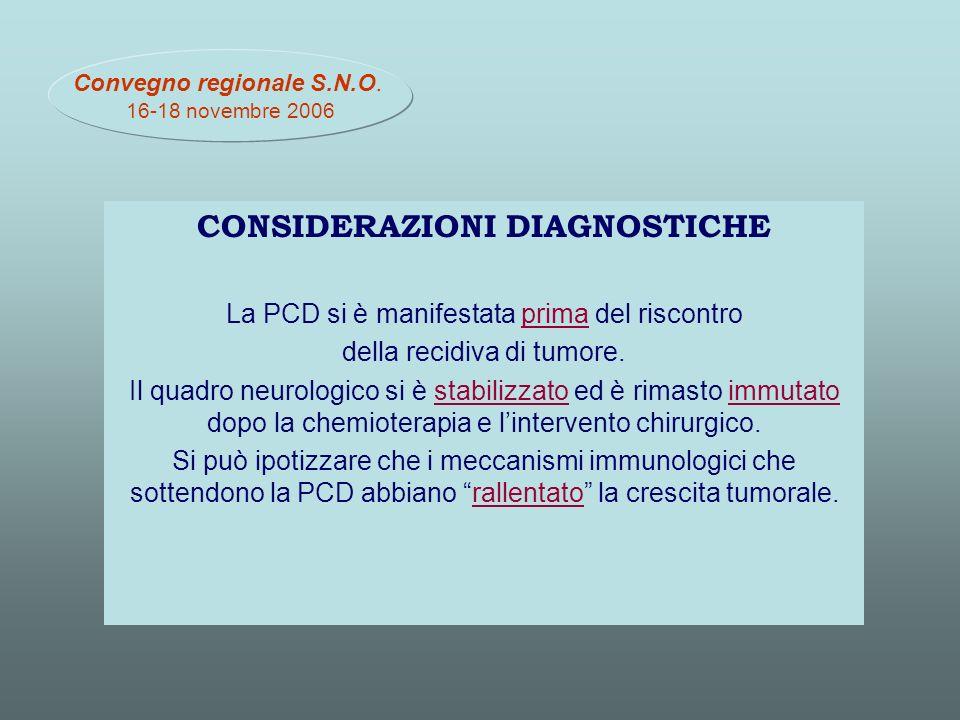 CONSIDERAZIONI DIAGNOSTICHE