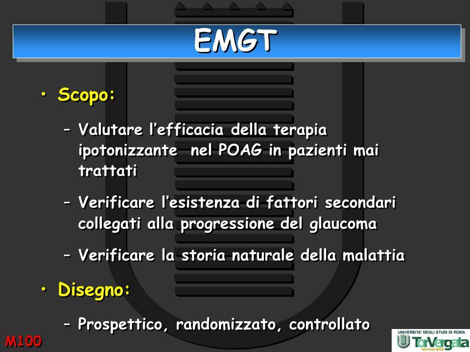 EMGT Scopo: Valutare l'efficacia della terapia ipotonizzante nel POAG in pazienti mai trattati.