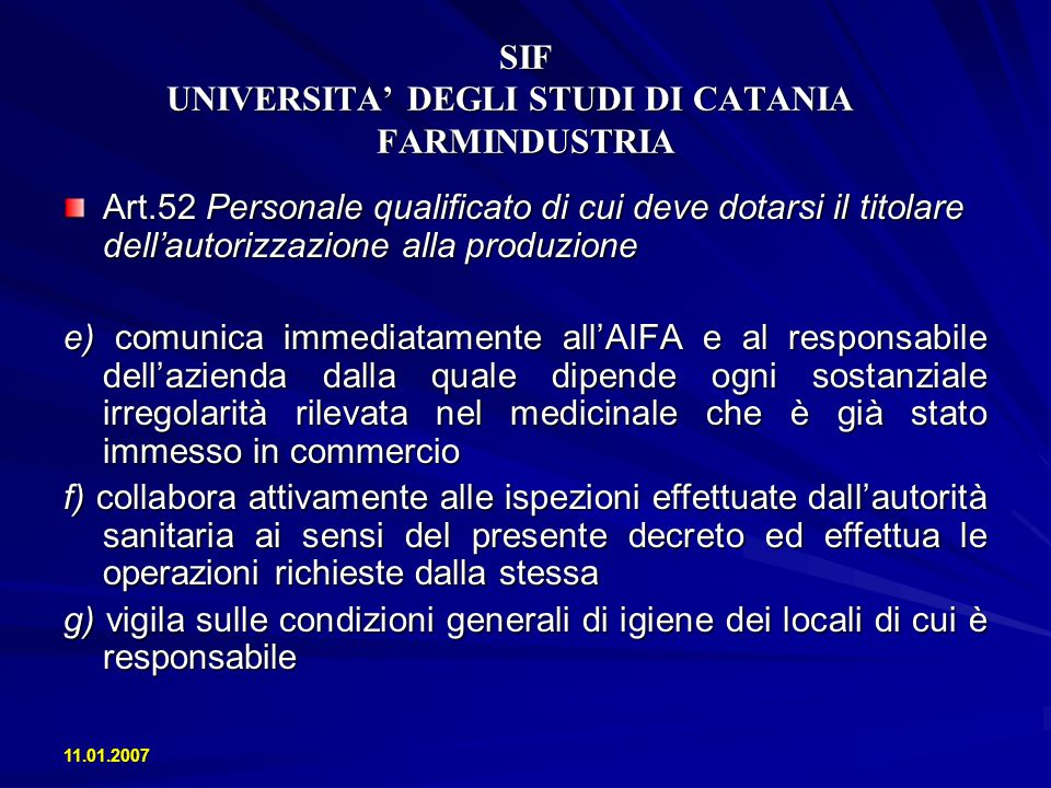SIF UNIVERSITA' DEGLI STUDI DI CATANIA FARMINDUSTRIA