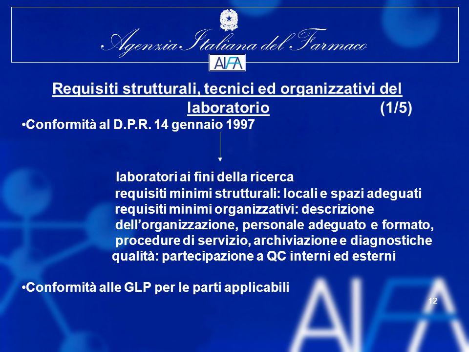 Requisiti strutturali, tecnici ed organizzativi del laboratorio (1/5)