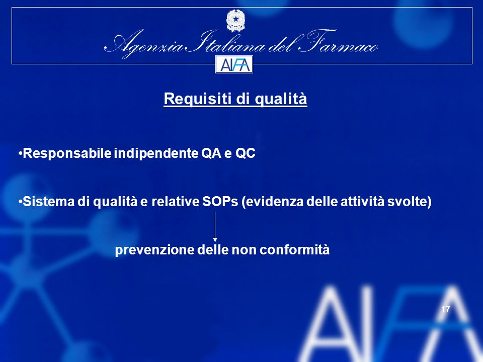 Requisiti di qualità Responsabile indipendente QA e QC