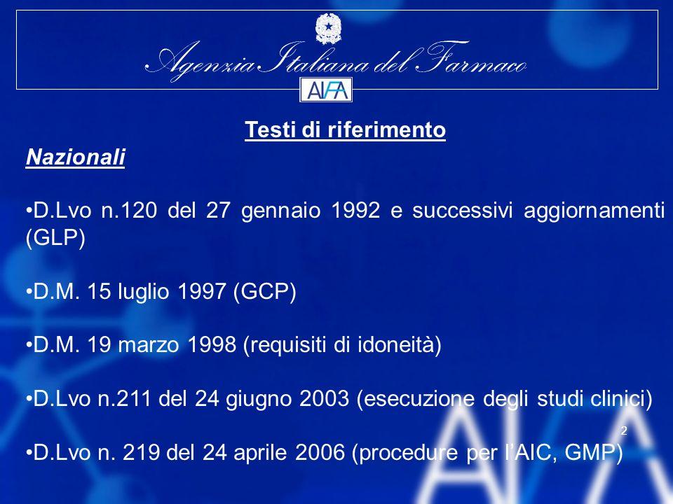 Testi di riferimento Nazionali. D.Lvo n.120 del 27 gennaio 1992 e successivi aggiornamenti (GLP) D.M. 15 luglio 1997 (GCP)