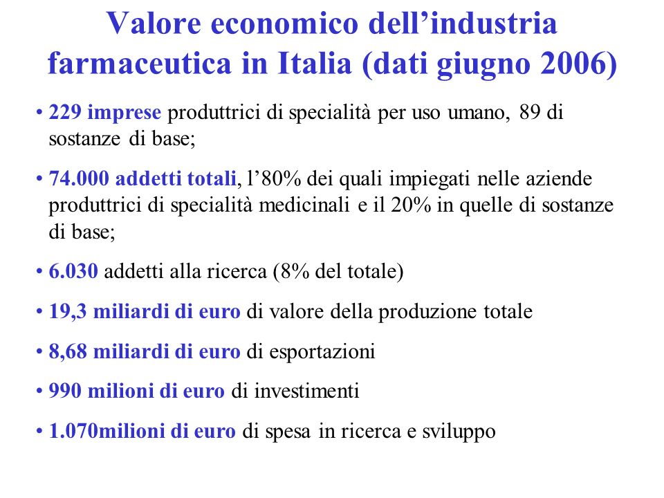 Valore economico dell'industria farmaceutica in Italia (dati giugno 2006)