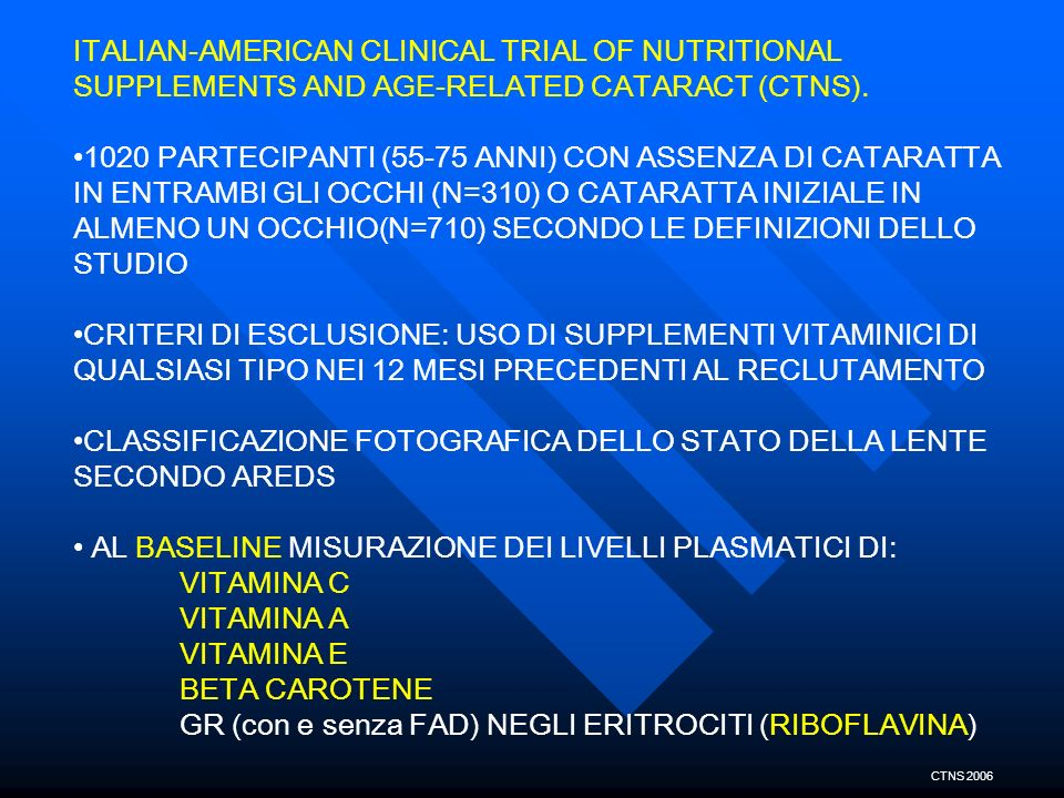 ITALIAN-AMERICAN CLINICAL TRIAL OF NUTRITIONAL