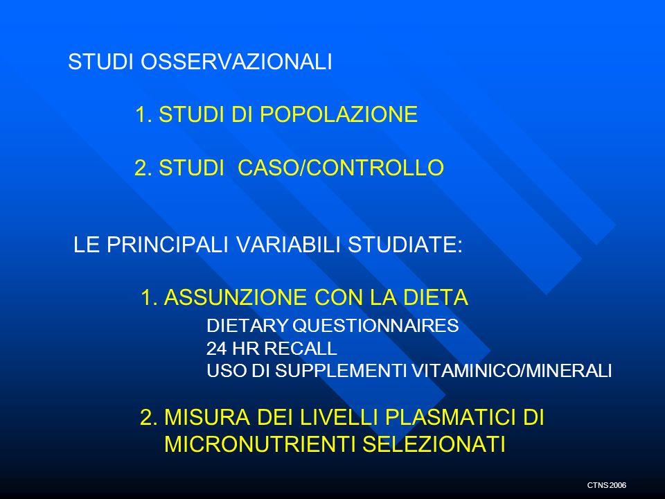 LE PRINCIPALI VARIABILI STUDIATE: 1. ASSUNZIONE CON LA DIETA