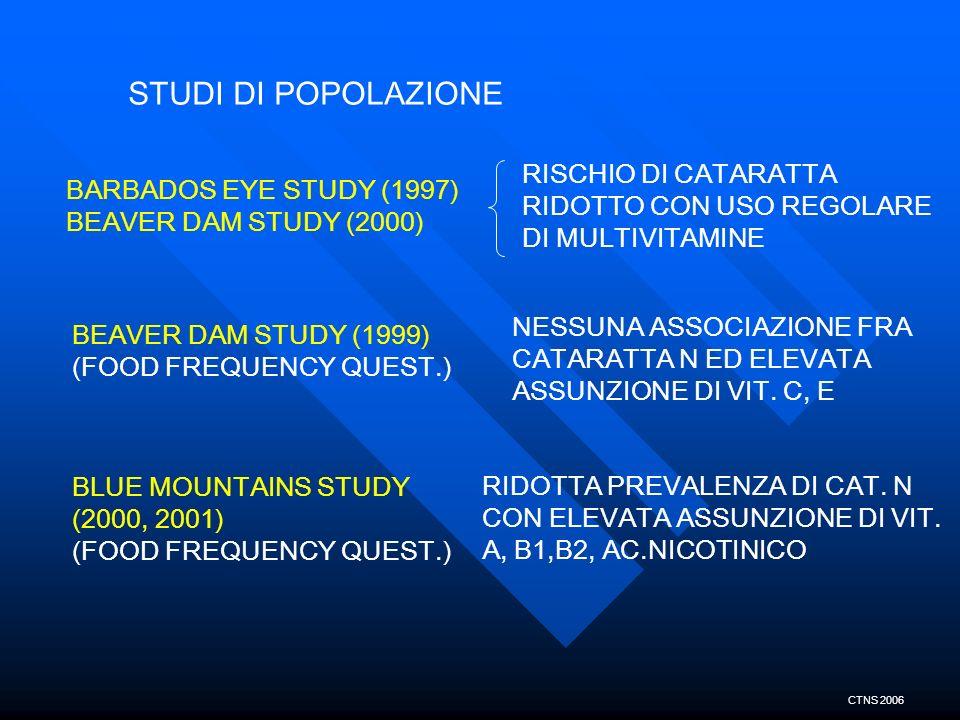 STUDI DI POPOLAZIONE RISCHIO DI CATARATTA RIDOTTO CON USO REGOLARE