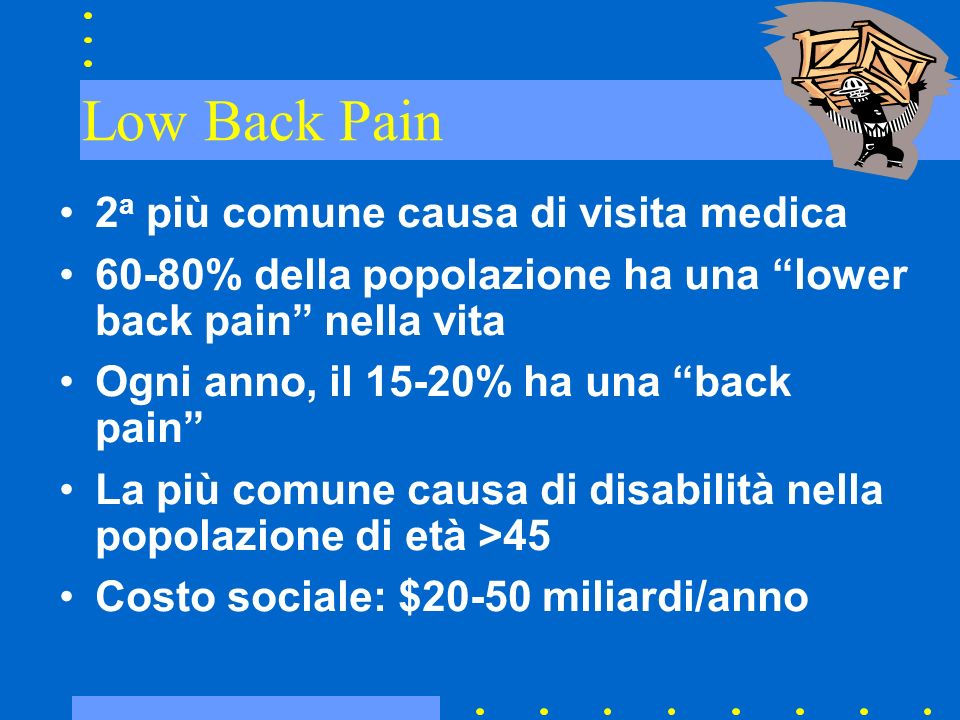 Low Back Pain 2a più comune causa di visita medica