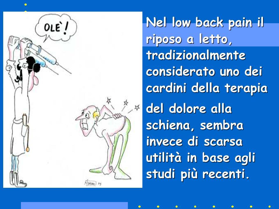 Nel low back pain il riposo a letto, tradizionalmente considerato uno dei cardini della terapia