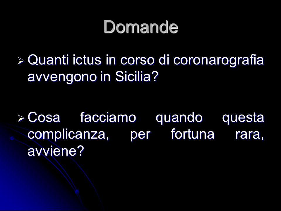 Domande Quanti ictus in corso di coronarografia avvengono in Sicilia