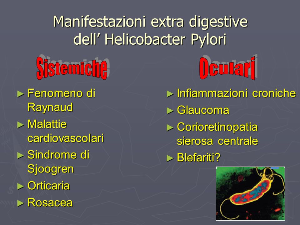 Manifestazioni extra digestive dell' Helicobacter Pylori