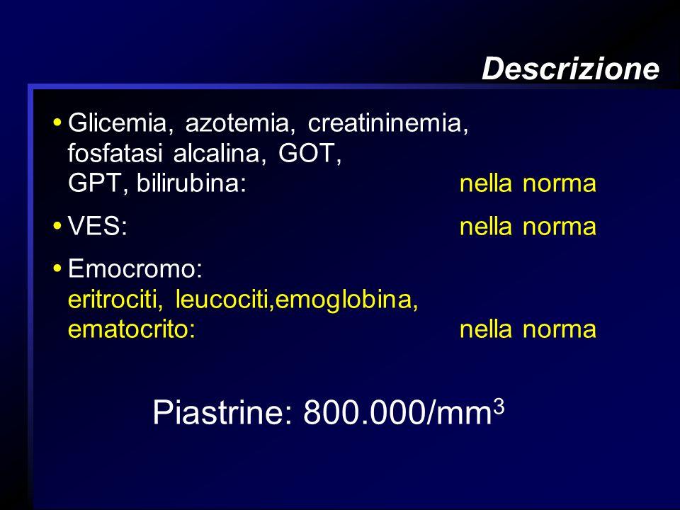 Piastrine: 800.000/mm3 Descrizione