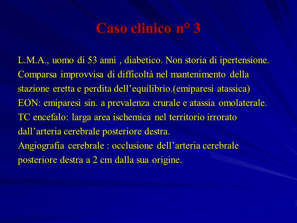 Caso clinico n° 3 L.M.A., uomo di 53 anni , diabetico. Non storia di ipertensione. Comparsa improvvisa di difficoltà nel mantenimento della.