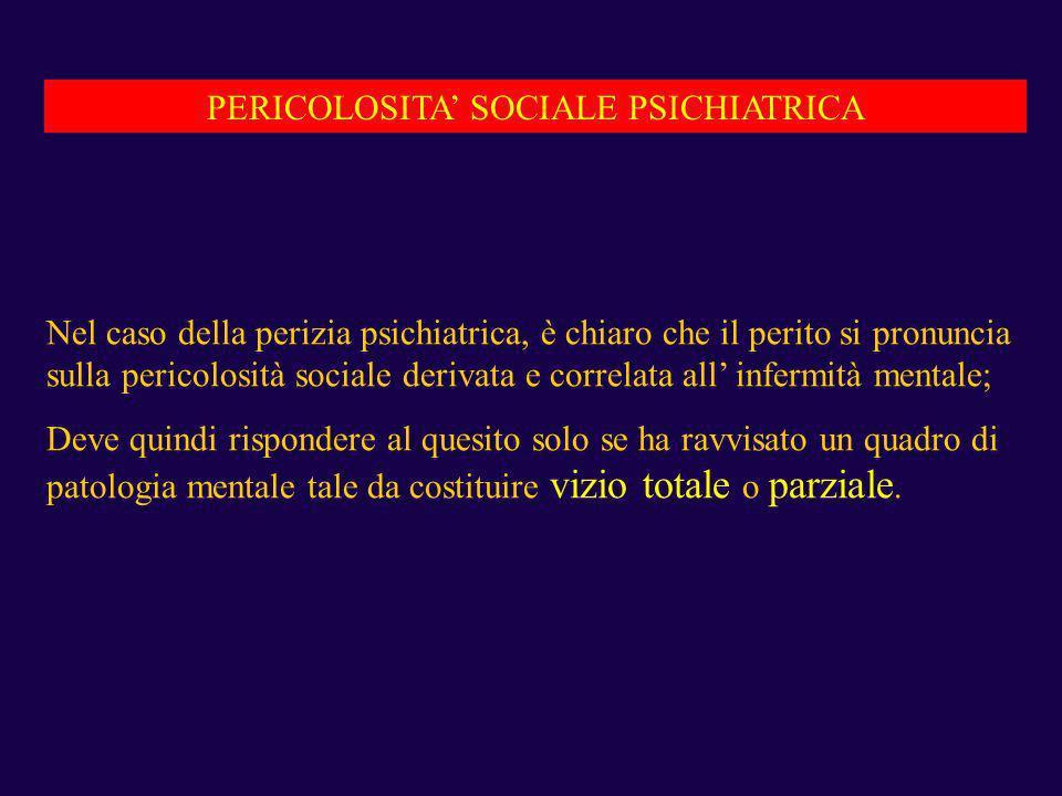 PERICOLOSITA' SOCIALE PSICHIATRICA
