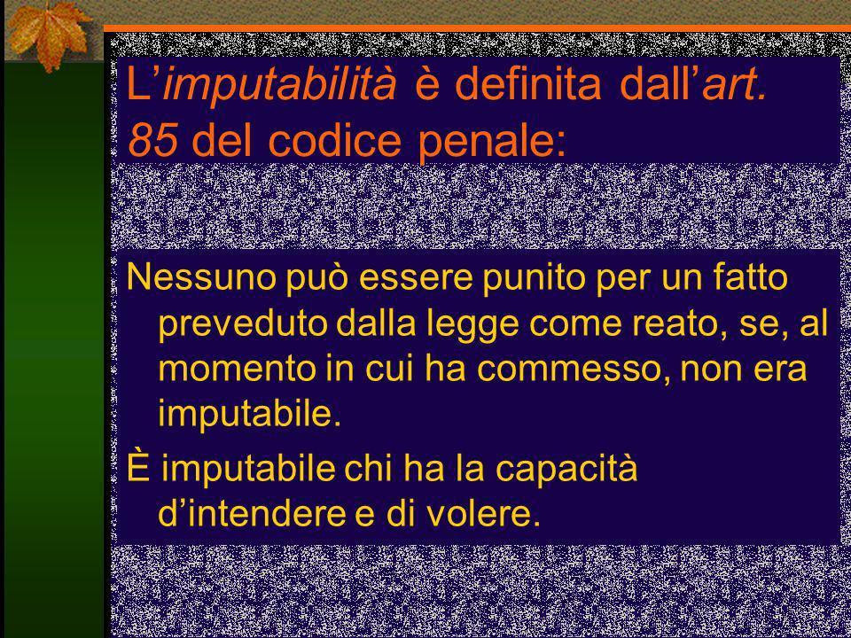 L'imputabilità è definita dall'art. 85 del codice penale: