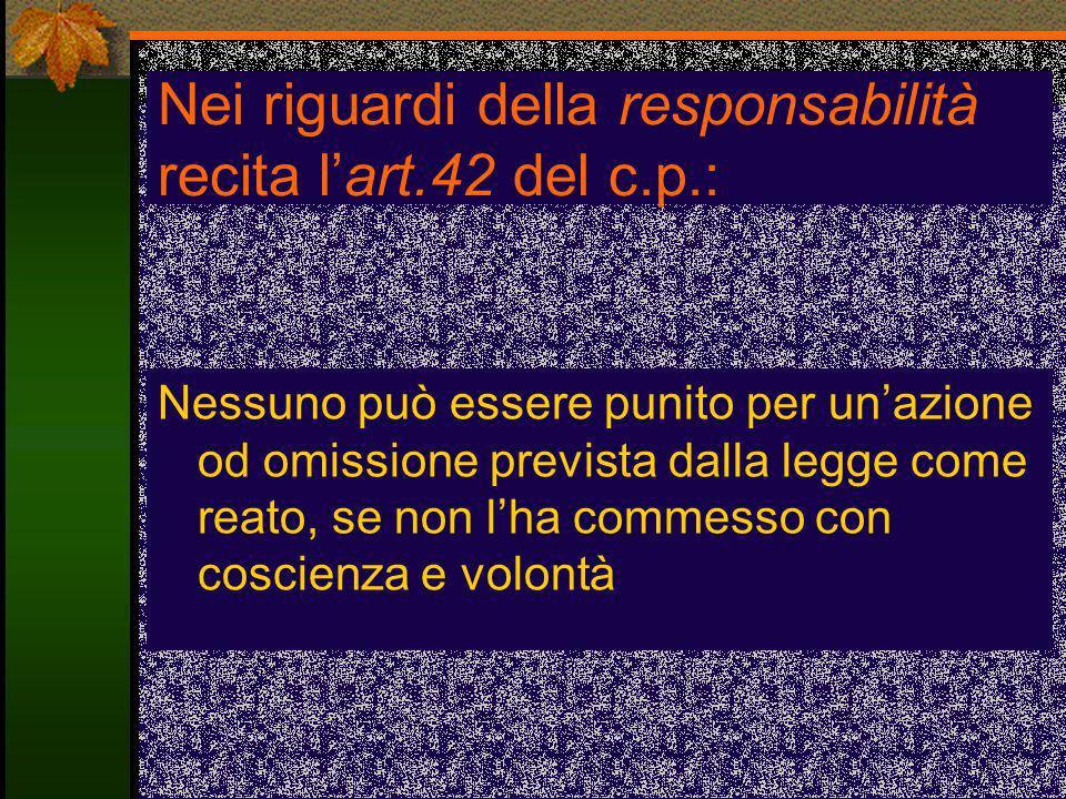 Nei riguardi della responsabilità recita l'art.42 del c.p.:
