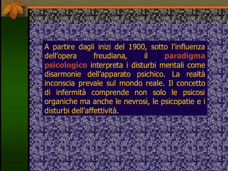 A partire dagli inizi del 1900, sotto l'influenza dell'opera freudiana, il paradigma psicologico interpreta i disturbi mentali come disarmonie dell'apparato psichico.