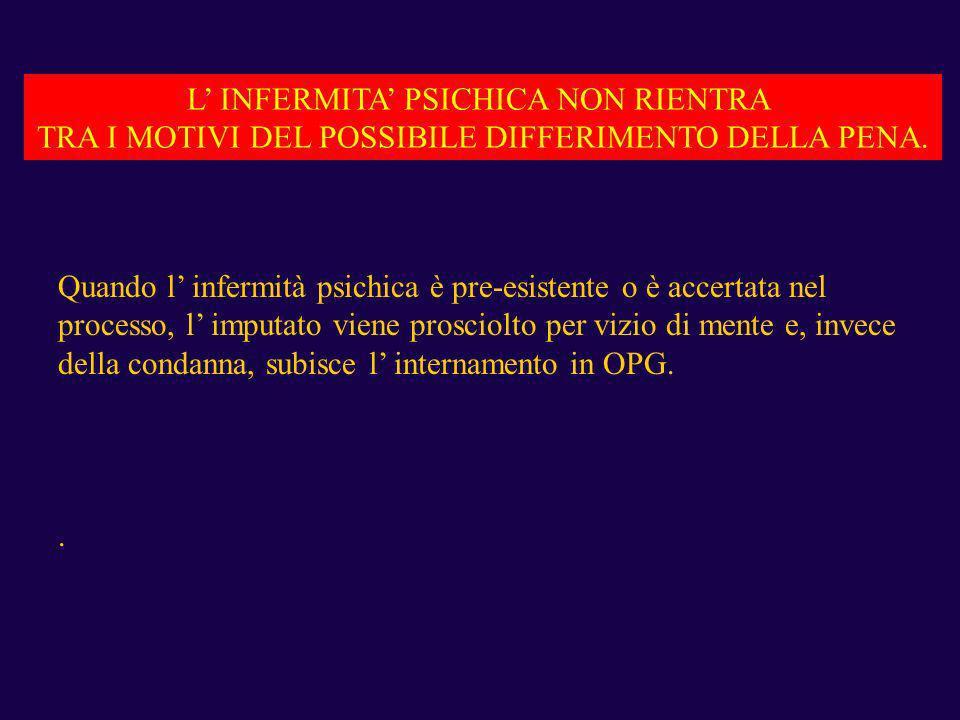 L' INFERMITA' PSICHICA NON RIENTRA