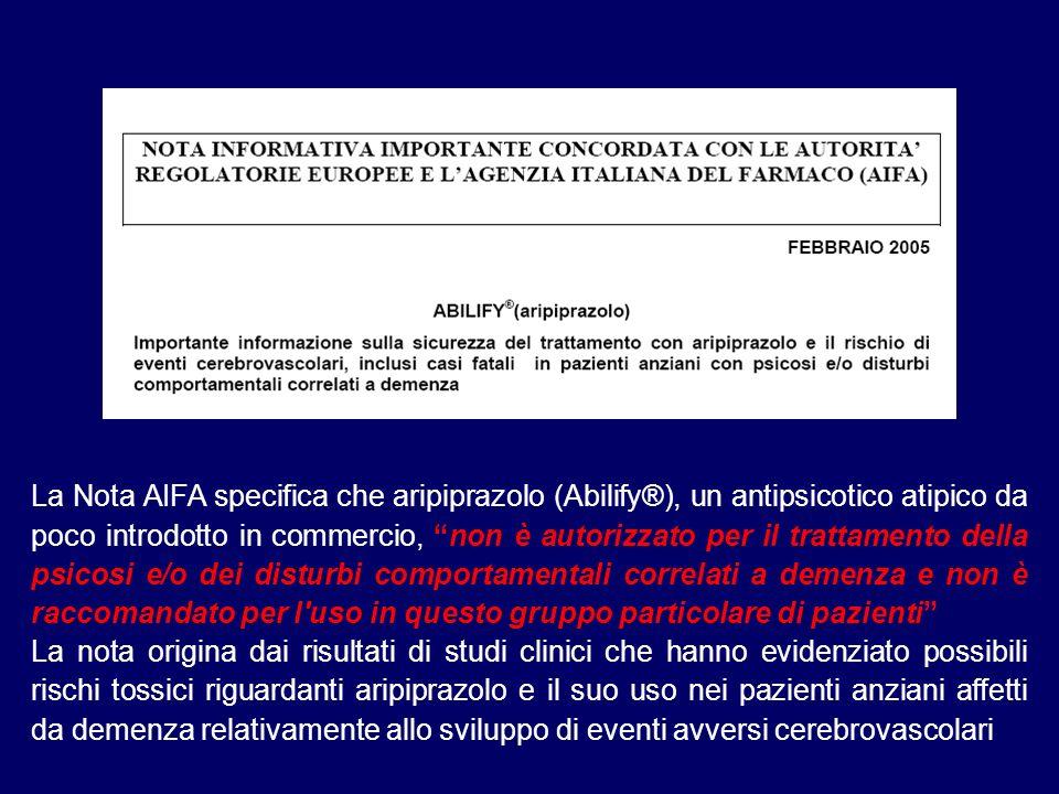 La Nota AIFA specifica che aripiprazolo (Abilify®), un antipsicotico atipico da poco introdotto in commercio, non è autorizzato per il trattamento della psicosi e/o dei disturbi comportamentali correlati a demenza e non è raccomandato per l uso in questo gruppo particolare di pazienti