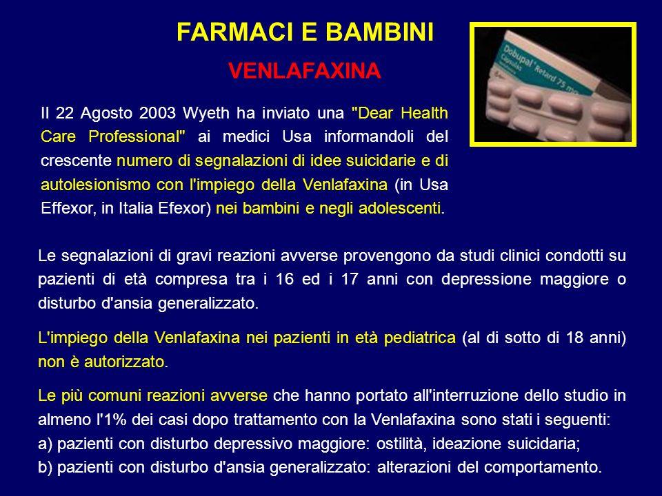 FARMACI E BAMBINI VENLAFAXINA