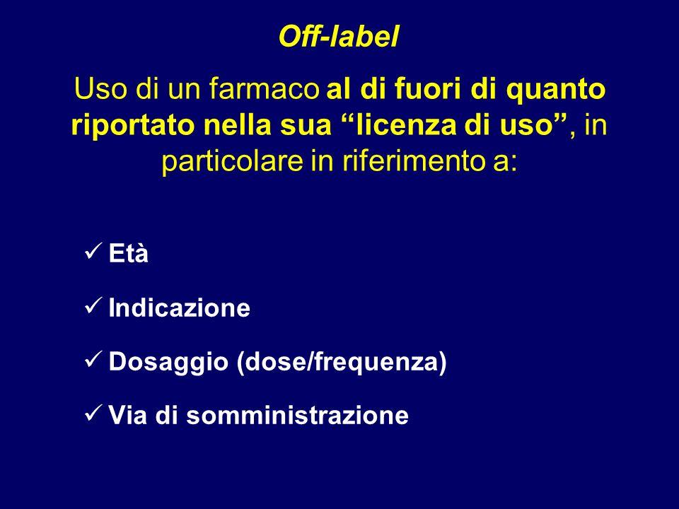 Off-label Uso di un farmaco al di fuori di quanto riportato nella sua licenza di uso , in particolare in riferimento a: