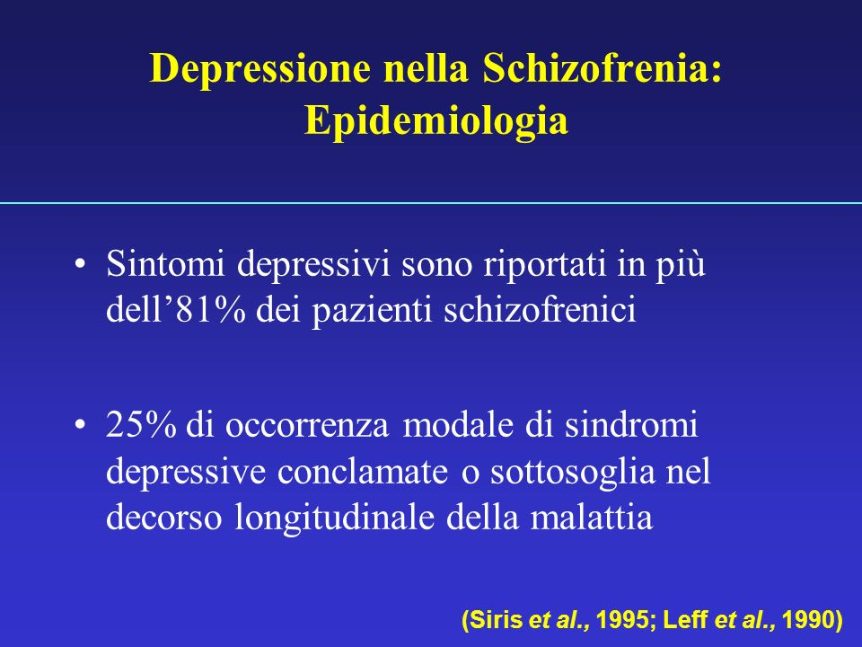 Depressione nella Schizofrenia: Epidemiologia