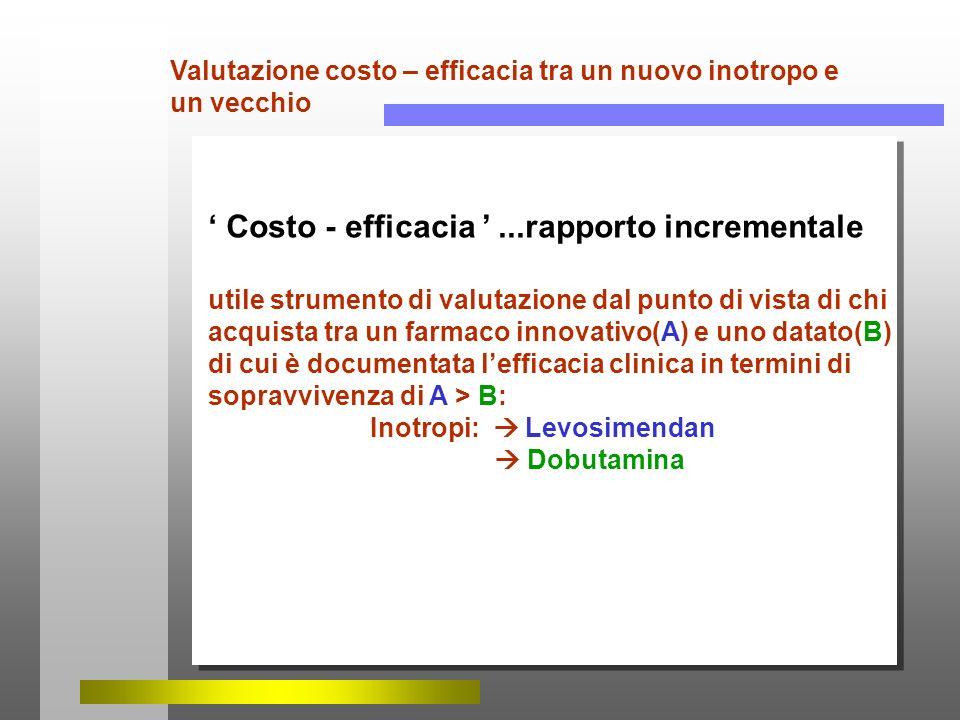 ' Costo - efficacia ' ...rapporto incrementale