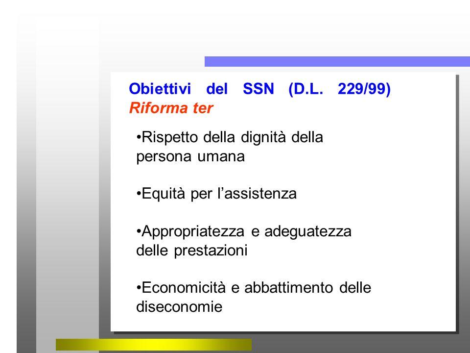 Obiettivi del SSN (D.L. 229/99) Riforma ter