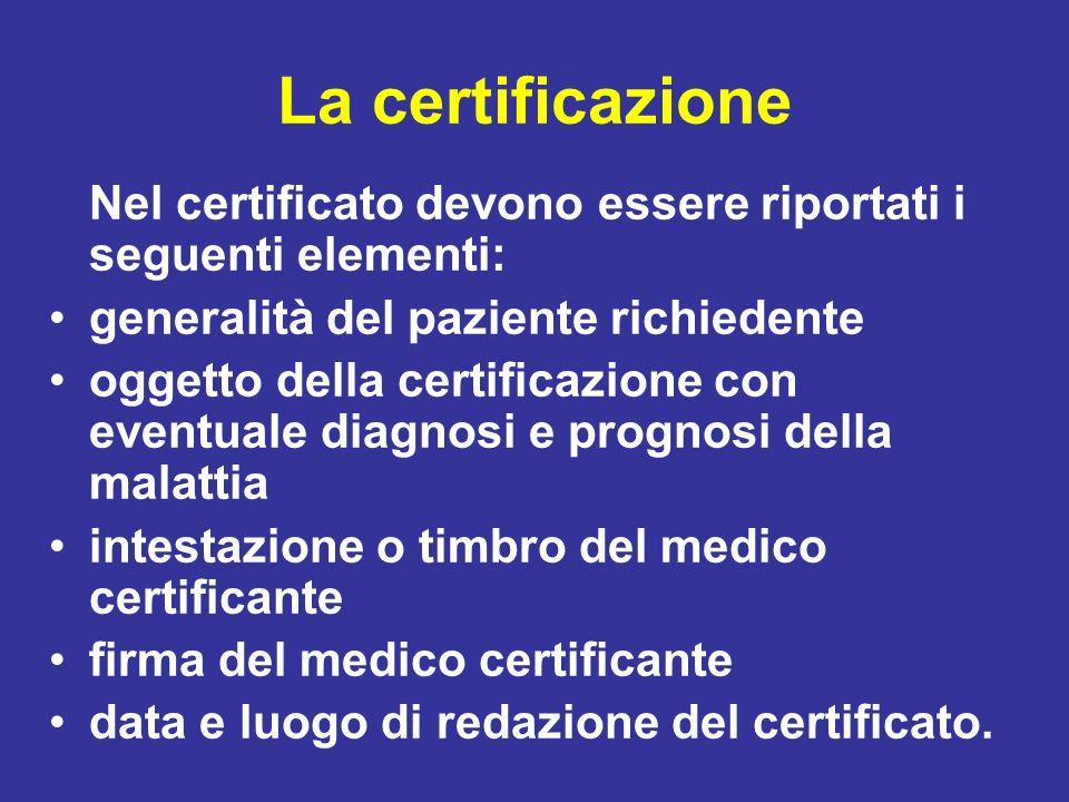 La certificazione Nel certificato devono essere riportati i seguenti elementi: generalità del paziente richiedente.