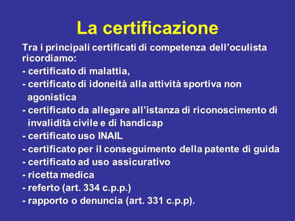 La certificazione Tra i principali certificati di competenza dell'oculista ricordiamo: - certificato di malattia,