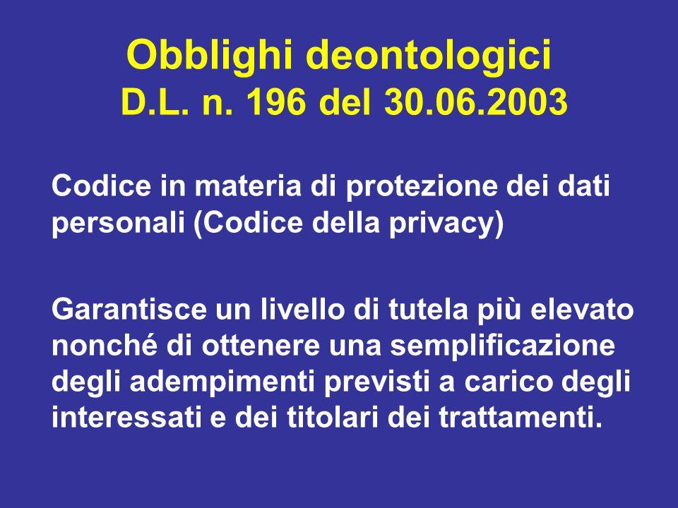 Obblighi deontologici D.L. n. 196 del 30.06.2003